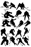 Hockey players. Black silhouettes players - Hockey Team Royalty Free Stock Image
