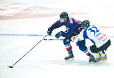 Hockey players. BUCHAREST, ROMANIA - MARCH 2: Unidentified hockey players compete during the Steaua Rangers vs Corona Brasovl game at Flamaropol Stadium, score 3 Stock Photography