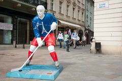 Hockey players in the Bratislava streets Royalty Free Stock Photography