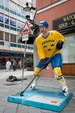 Hockey players in the Bratislava streets Royalty Free Stock Photos