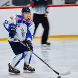 Hockey players compete during Hockey match Stock Photos