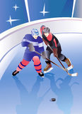 Hockey players duel. Hockey players power duel with ice field background vector illustration