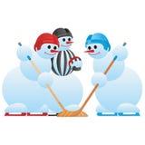 Hockey players and hockey referee Royalty Free Stock Photos