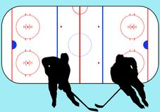 Hockey players and playground illustration Royalty Free Stock Photos