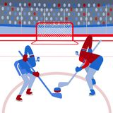 Hockey players on the playing field. Flat style. Vector. stock illustration
