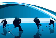 Hockey players with reflection vector background Stock Image
