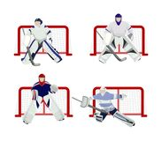 Hockey players set. Hockey players set on white background. Goal minders Royalty Free Stock Photos