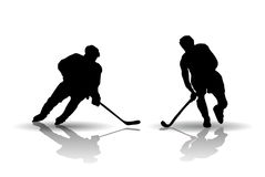 Hockey players silouettes Stock Photo