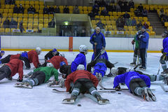Hockey players in training Stock Photography