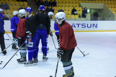 Hockey players in training Royalty Free Stock Images