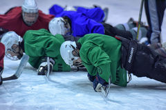 Hockey players in training. Ice hockey players at a public workout, St. Petersburg, Russia Royalty Free Stock Images