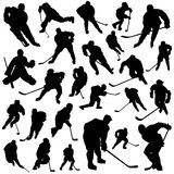 Hockey players vector. Set of hockey players vector Royalty Free Stock Image