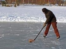 Hockey on pond Stock Image