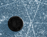 Hockey puck. Black hockey puck on ice rink Stock Image