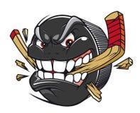 Hockey puck break hockey stick Stock Images