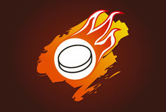 Hockey puck with flames. Illustration of a hockey puck with flames Stock Photography