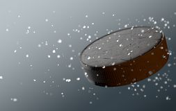Hockey Puck In Flight Photo stock