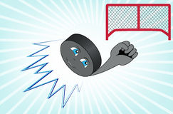 The hockey puck flying into the goal. The cartoon hockey puck flying into the goal Stock Photos