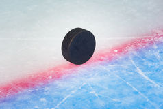 Hockey puck on goal line Royalty Free Stock Photos