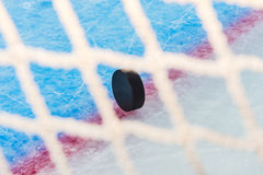 Hockey puck through goal net. Hockey puck stand on side on goal line. View through goal net Royalty Free Stock Images