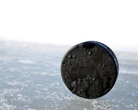 Hockey puck. On a ice rink Stock Photography