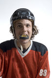 Hockey Puck in Mouth-Vetical Royalty Free Stock Images
