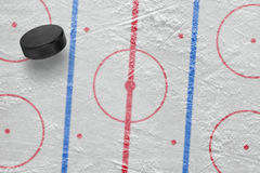 Hockey puck on the site Royalty Free Stock Photos