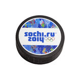 Hockey puck Sochi 2014 Royalty Free Stock Photos