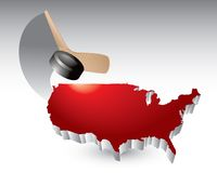 Hockey puck and stick over red united states icon Royalty Free Stock Photo