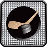 Hockey puck and stick on silver checkered web icon Royalty Free Stock Images