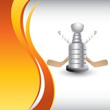 Hockey puck and stick on vertical orange wave ad. Vertical orange wave background with a hockey trophy and crossed sticks Stock Photos