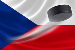 Hockey Puck Streaks Across the Czech Republic Flag Stock Photo