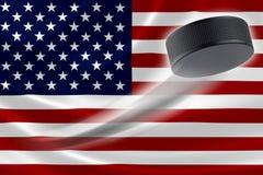 Hockey Puck Streaks Across USA's Flag Royalty Free Stock Photography