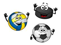 Hockey puck, volleyball and soccer balls Royalty Free Stock Images