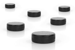 Hockey Pucks Royalty Free Stock Photography