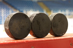 Hockey Pucks royalty free stock photography