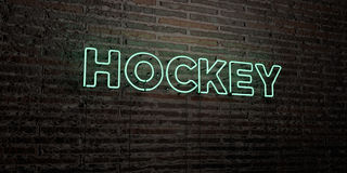 HOCKEY -Realistic Neon Sign on Brick Wall background - 3D rendered royalty free stock image Royalty Free Stock Images