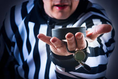 Hockey referee hold a puck Stock Photos