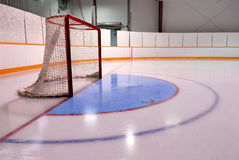 Hockey or Ringette Net in Rink. A Hockey or Ringette Net and Crease in a Rink Royalty Free Stock Photography