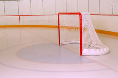 Hockey or Ringette Net in Rink Royalty Free Stock Images
