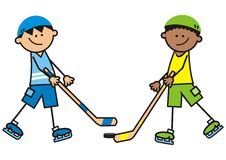 Hockey rival, vector illustration. Two boys - hockey players Royalty Free Stock Images