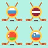 Hockey in Russia, Latvia, Belarus and Slovenia. Universal symbol for international hockey tournament (championship, cup) in Russia, Latvia, Belarus and Slovenia Stock Image