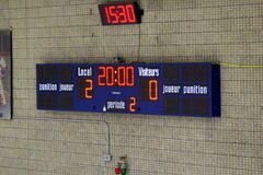 Score board. A hockey score board with visitors winning 2:0 on Sunday afternoon Royalty Free Stock Photo