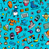 Hockey seamless pattern, sketch for your design Royalty Free Stock Image