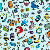 Hockey seamless pattern, sketch for your design Stock Photos