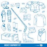 Hockey set. Set of a ice-hockey equipment sport icon vector illustration Stock Image