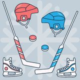 Hockey set of vector images: stick, puck, helmet, skates, red and blue on the background of snowflakes. Winter sports. vector illustration