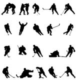 Hockey silhouettes collection Royalty Free Stock Images