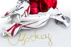 Hockey - Skate laces spells the word hockey. Isolated Royalty Free Stock Photos
