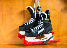 Hockey skates with protective covers covers Royalty Free Stock Photography